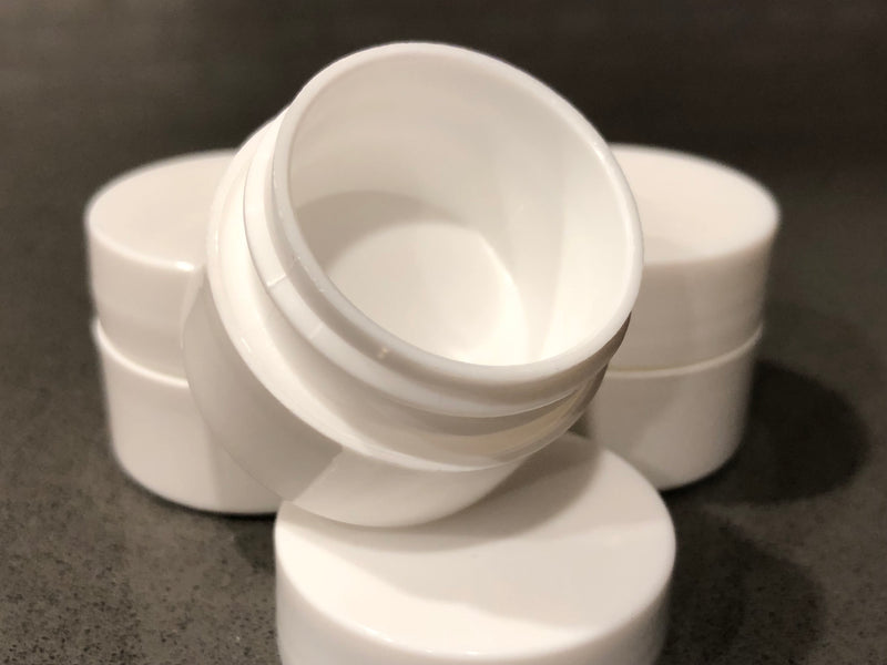 Plastic Cosmetics Jar - 1/4oz White Container w/ Lid