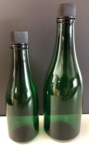 Keuka Bottle - Round Green Plastic Champagne Bottles