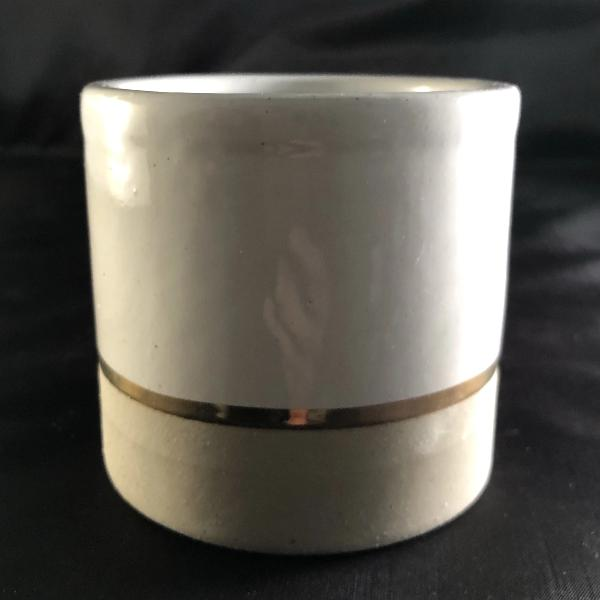 Ceramic Candle Container with Gold