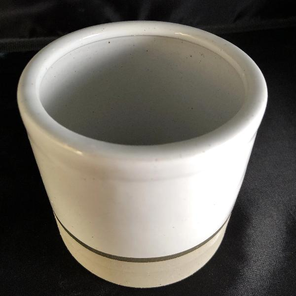 White Ceramic Candle Container w/ Gold Ring