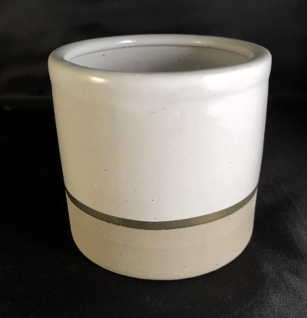 Two Tone Ceramic Candle Container with Gold Accent