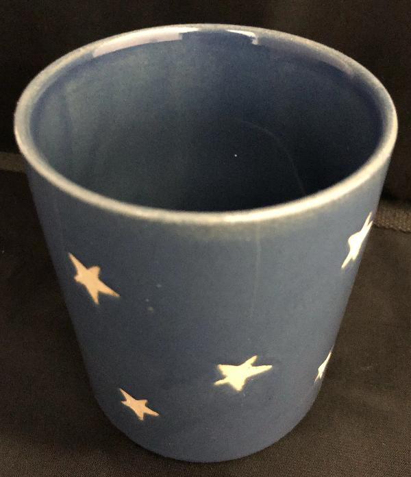 Starry Night Candle Container - Blue Ceramic