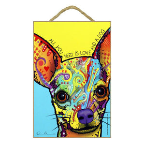 Chihuahua Yellow Wood Plaque Sign