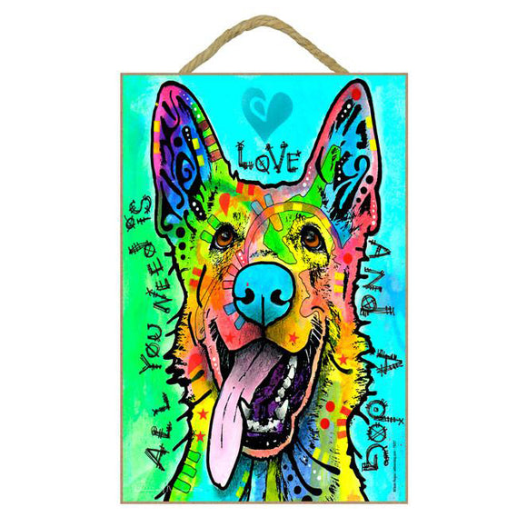 German Shepherd  Love Wood Plaque Sign