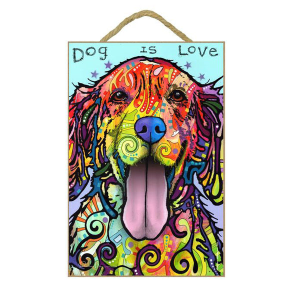 Golden Retriever Dog is Love Wood Plaque Sign