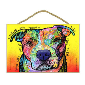 Pit Bull Finding Wood Plaque Sign