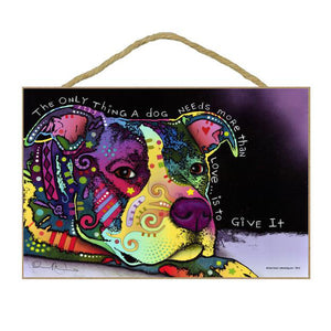 Pit Bull Give Love Wood Plaque Sign