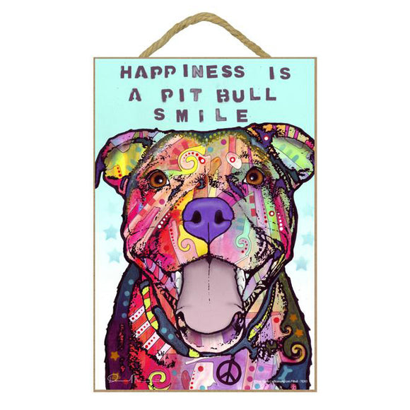 Pit Bull Happiness Wood Plaque Sign