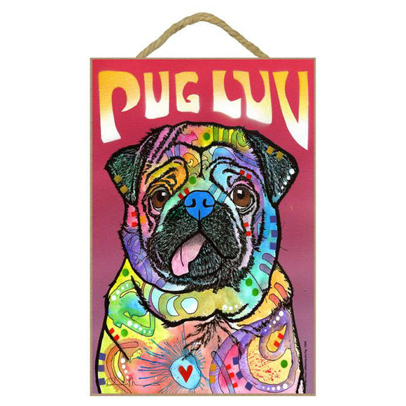 Pug Luv Wood Plaque Sign