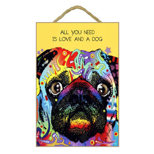 Pug Wood Plaque Sign