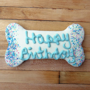 Frosted Happy Birthday Blue Dog Treat