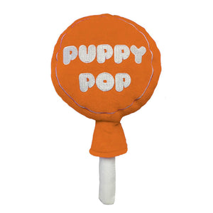 Orange Puppy Pop Power Plush Dog Toy