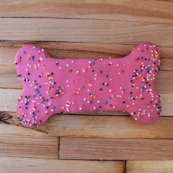 Frosted Pink Sprinkle Dog Treat