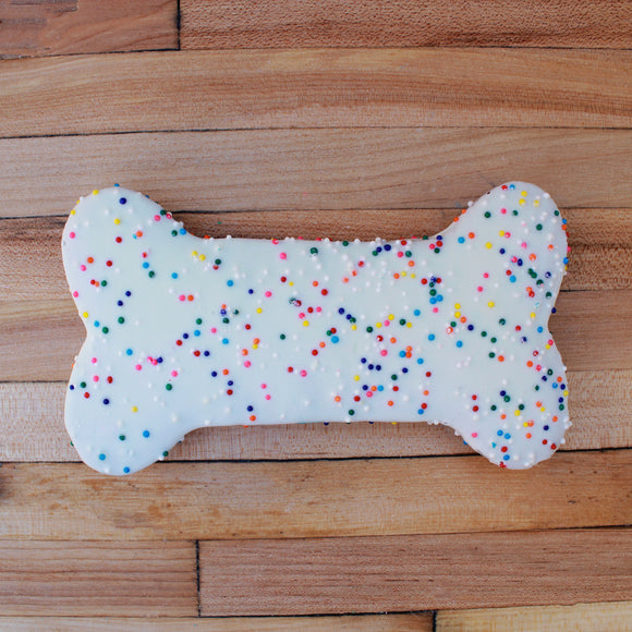 Frosted White Sprinkle Dog Treat