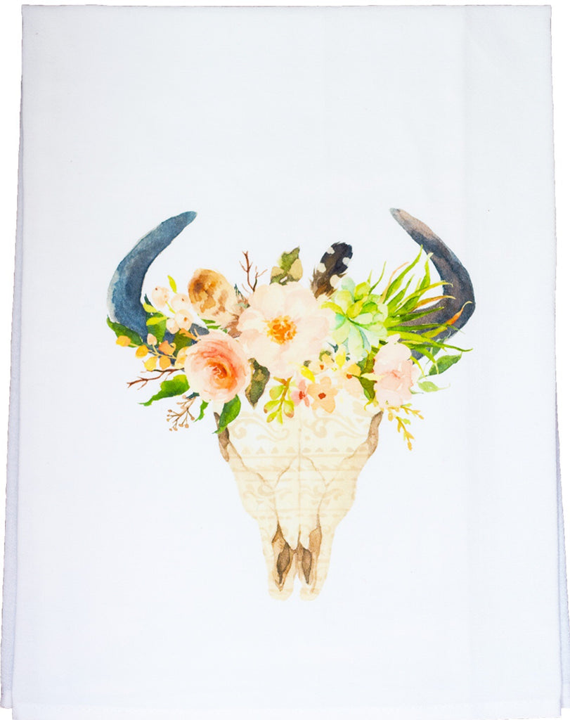 Floral Horn Dish Towel