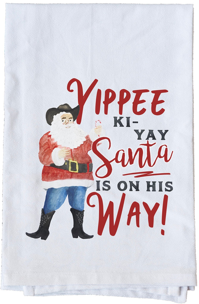 Santa is on his way Dish Towel