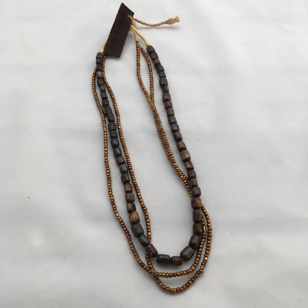 Twine & Twig - Brown Metallic Layers Necklace