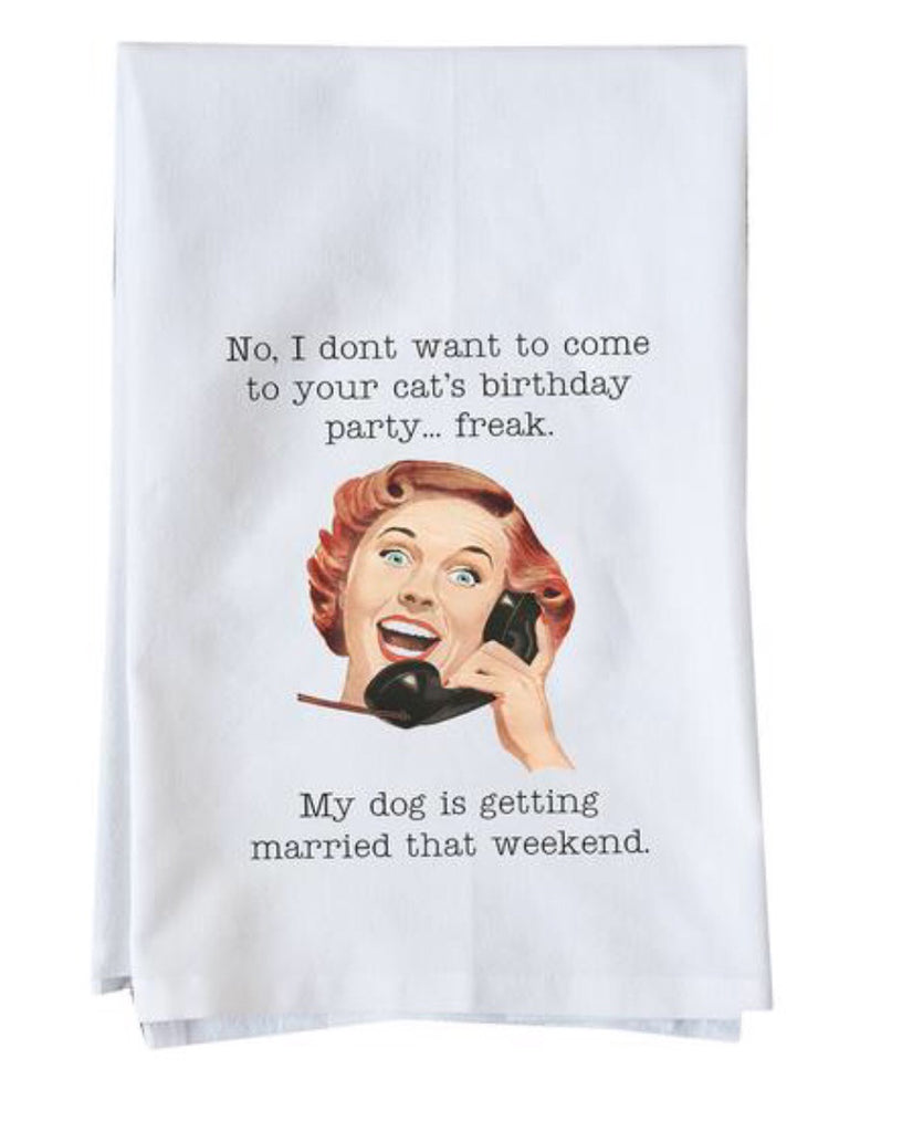 Cat's Birthday Party Dish Towel