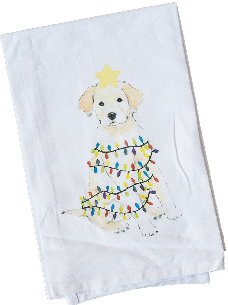 Golden Retriever with Lights Dish Towel