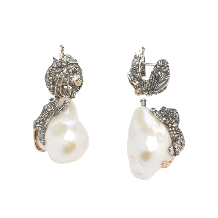 Animal Earrings Baroque Pearls