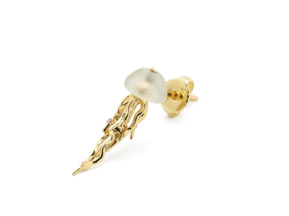 Jelly Fish Stud Earring Yellow Gold and Prasiolite