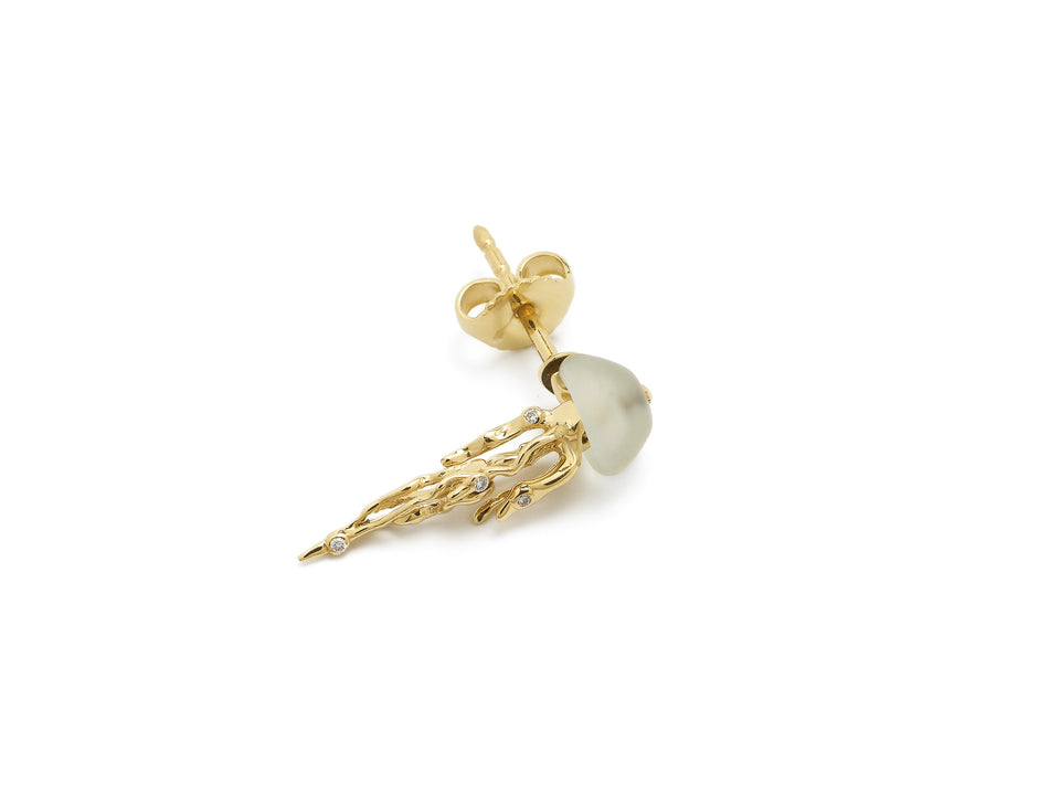 Jellyfish Stud Earring Yellow Gold and Prasiolite