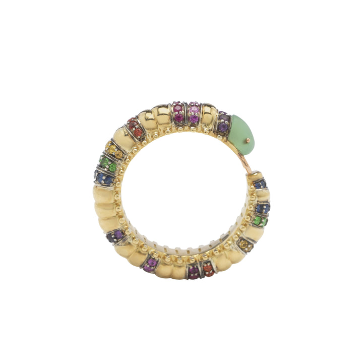 Millipede Eternity Ring – Coloured Stones