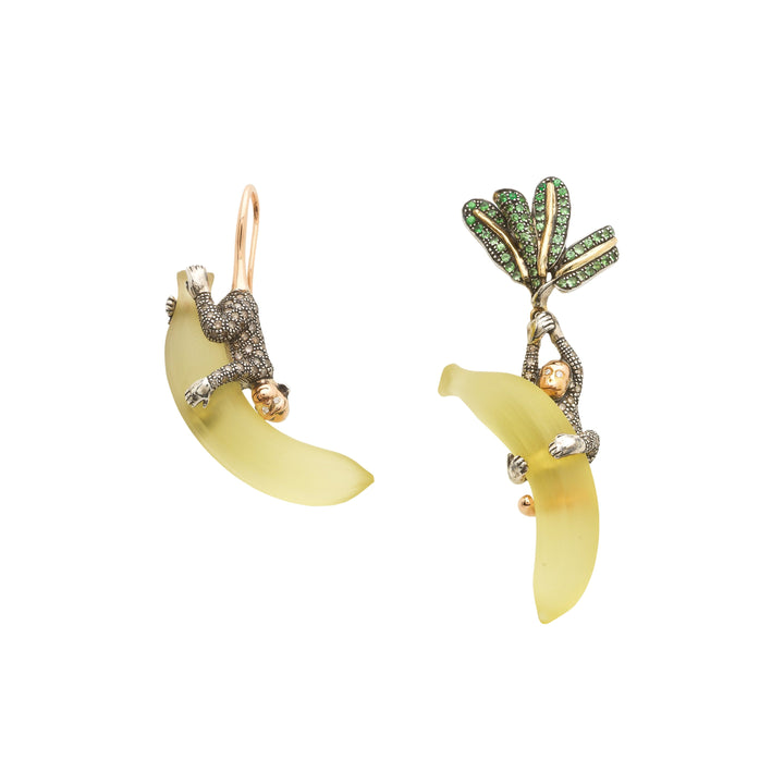 Monkey on Banana Earrings