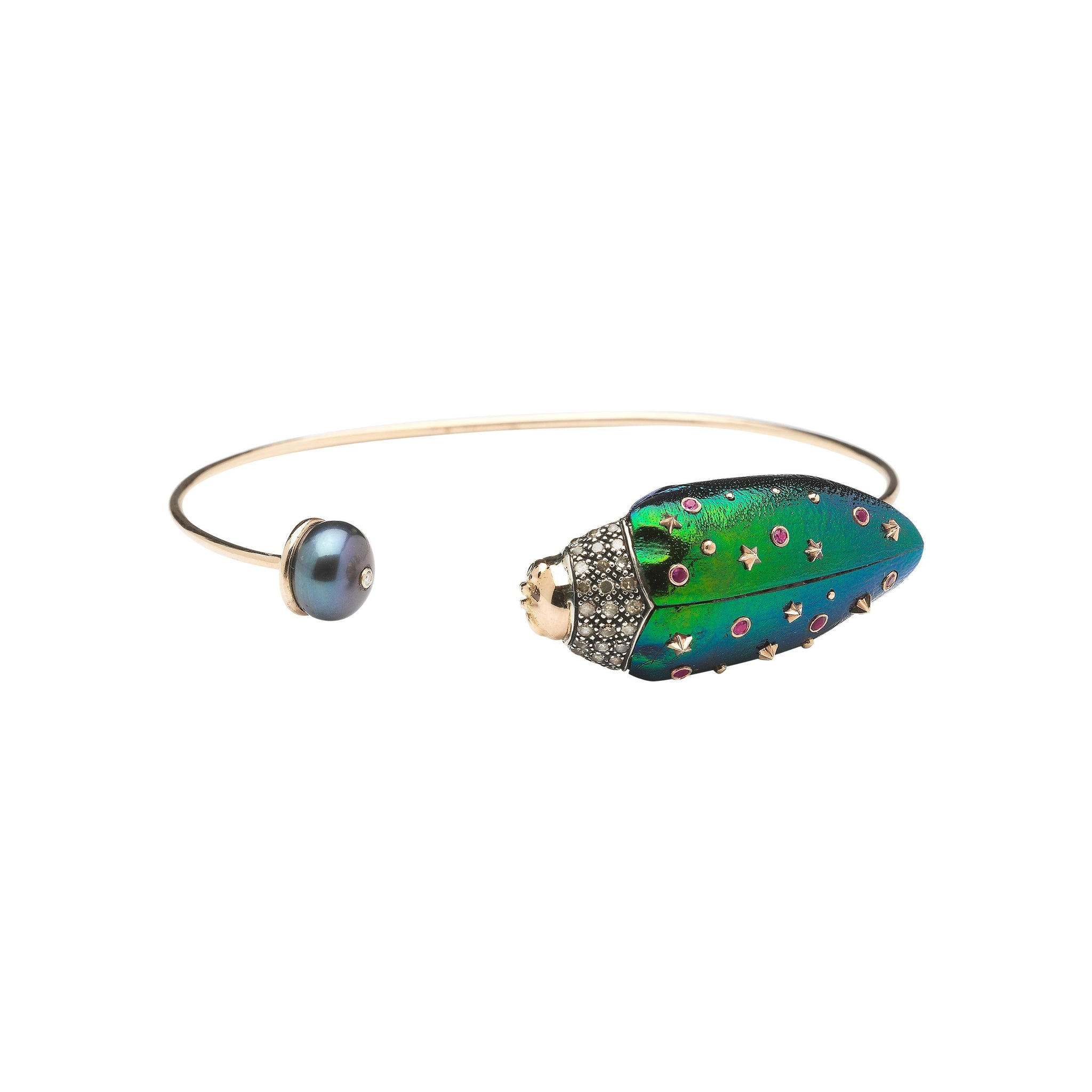 Scarab and Pearl Bangle