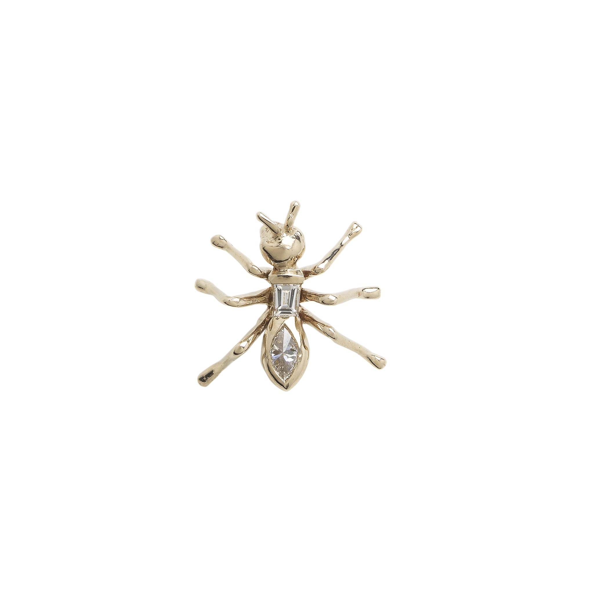 Ant Stud Earring – White Gold