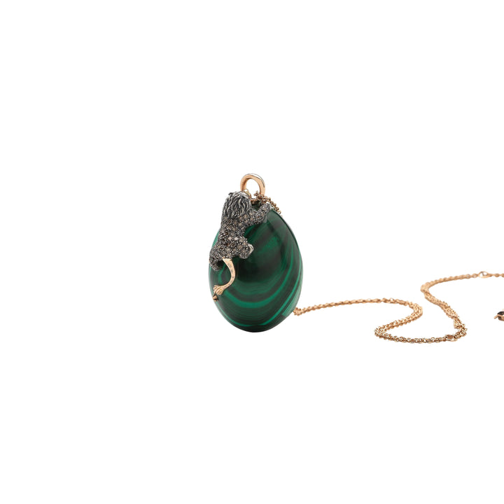 Lion on Malachite Necklace