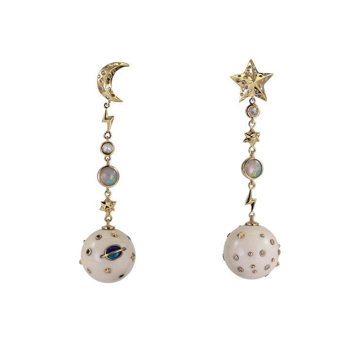 Star and Moon Mammoth Galaxy Earrings