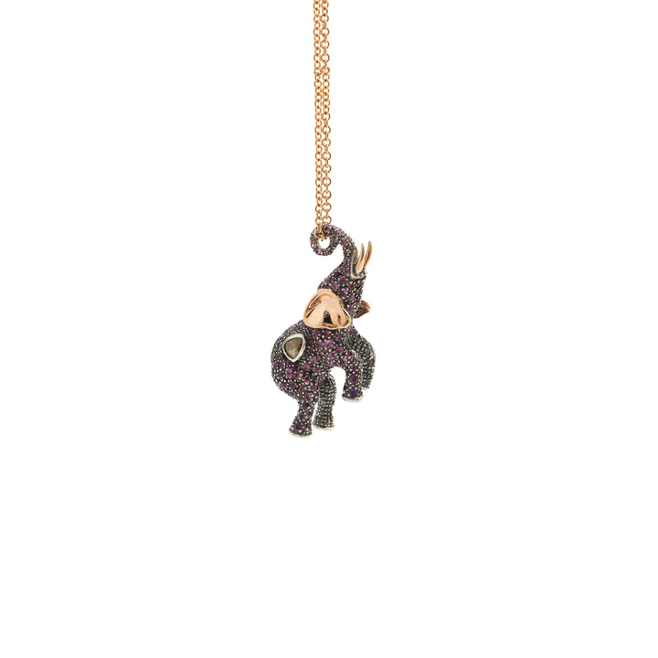 Pink Elephant Necklace