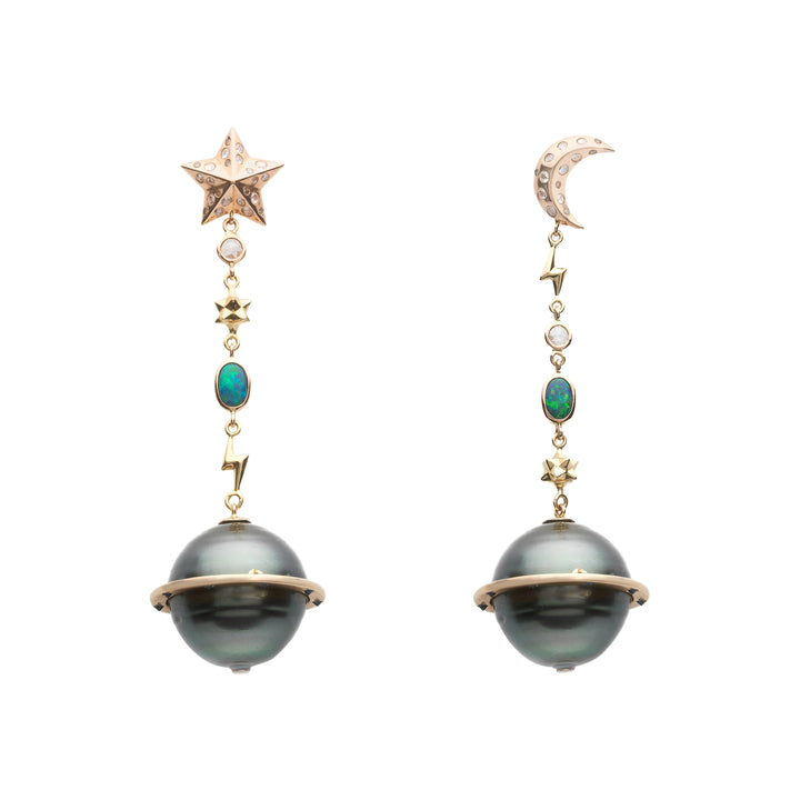Galaxy Planet Moon and Star Earrings