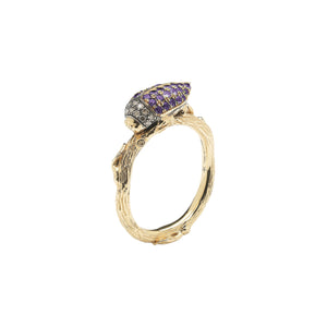 Purple Scarab Stackable Ring