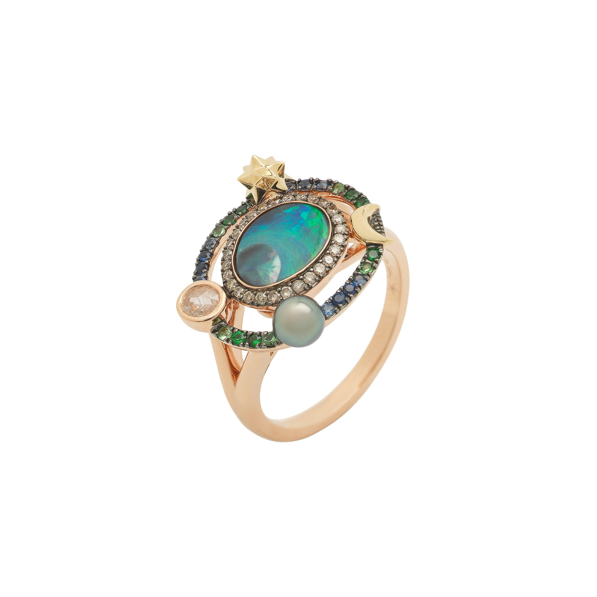 Small Galaxy Opal Ring