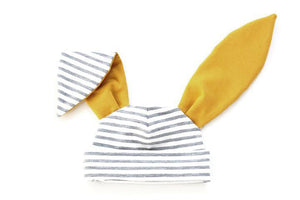 Grey stripe mustard bunny hat