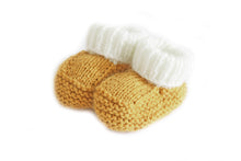 Load image into Gallery viewer, Mustard knitted baby booties