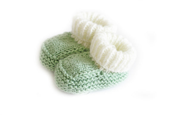 Mint knitted baby booties
