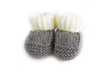 Load image into Gallery viewer, Slate grey knitted baby booties