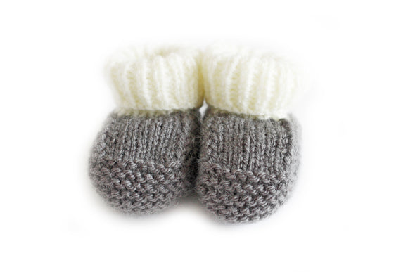 Slate grey knitted baby booties