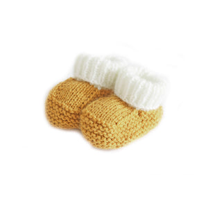 Mustard knitted baby booties
