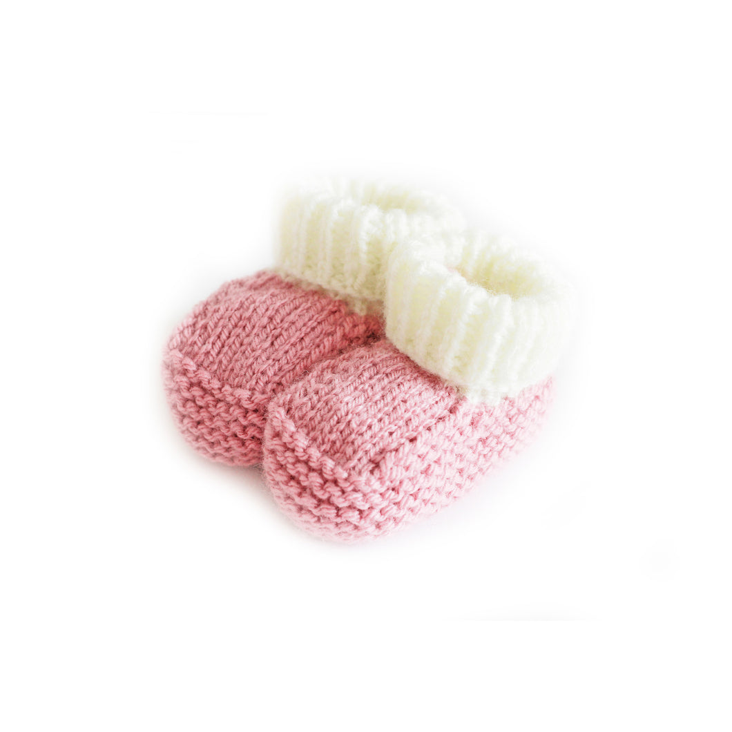Dusky pink knitted baby booties