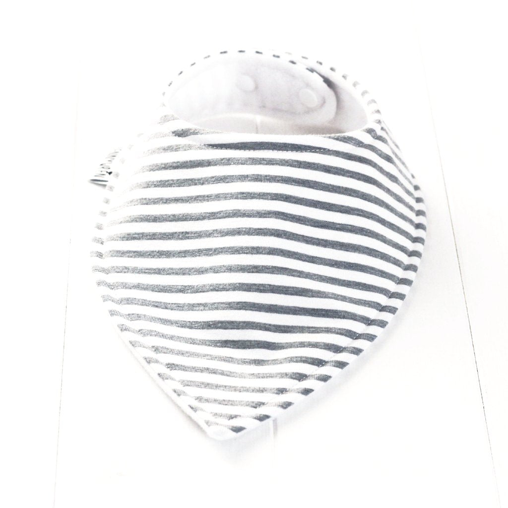 Grey stripe bandana dribble bib