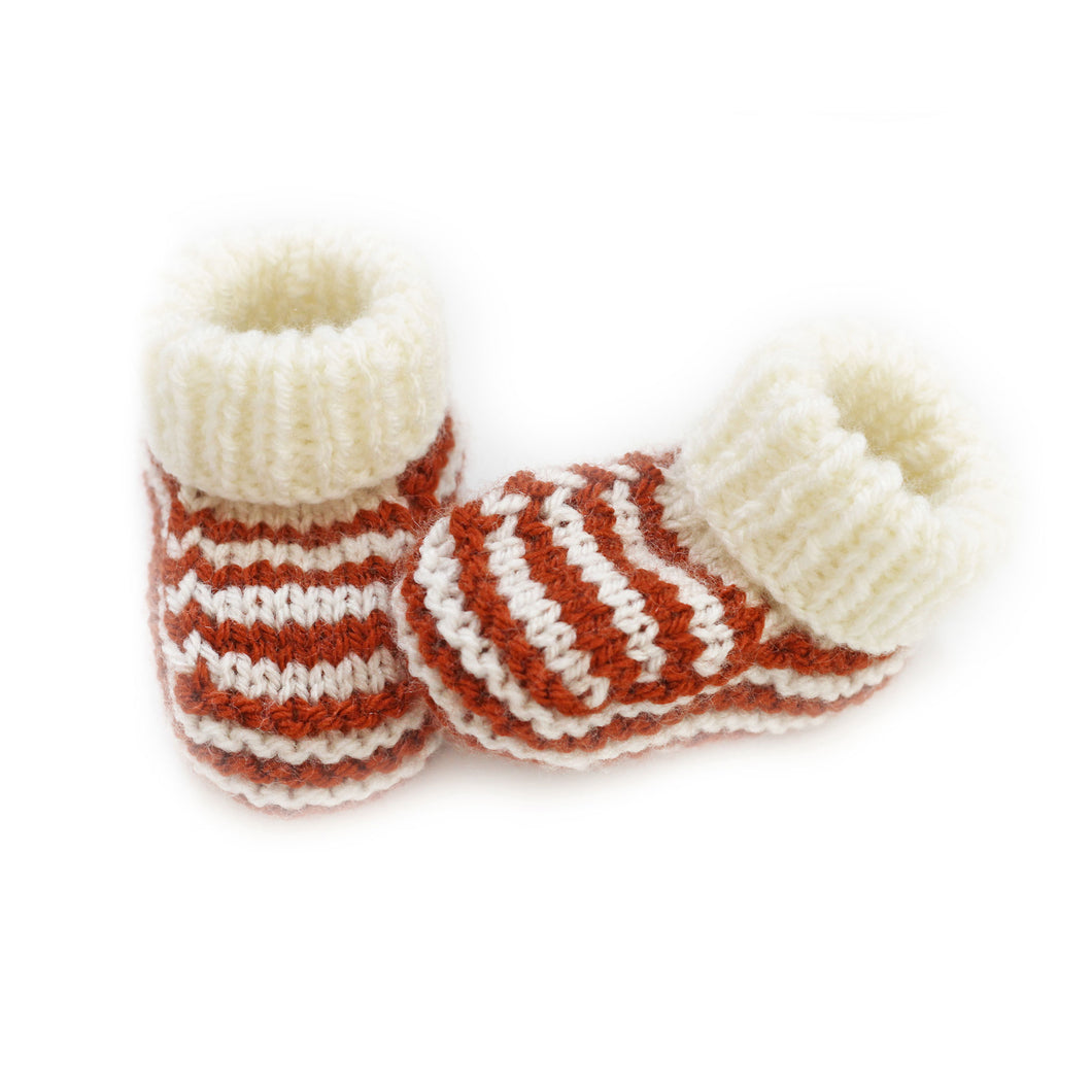 Copper stripe knitted booties