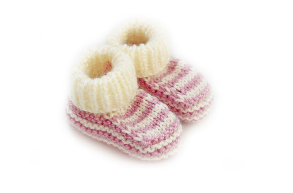 Dusky pink stripe knitted baby booties