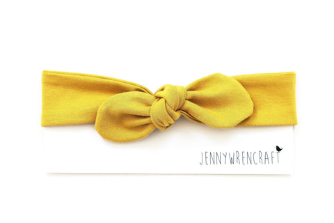 Plain mustard top knot bow headband