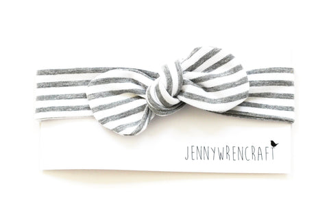Grey stripe top knot bow headband