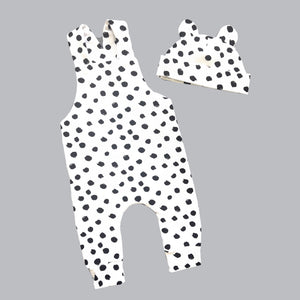 Dalmatian dungarees and bear hat set