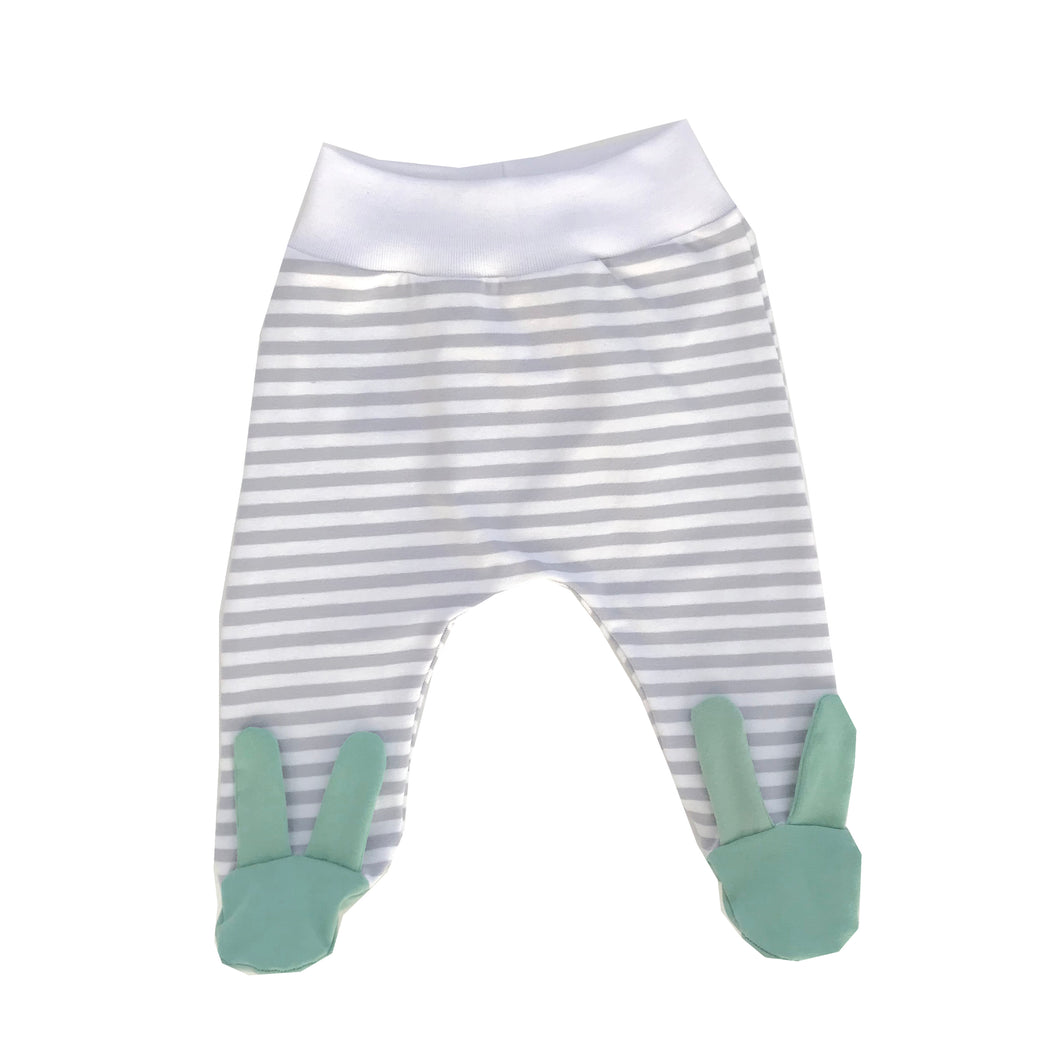 Grey stripe mint bunny footed leggings